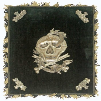 skull-adorned altar-cloth, Romburk museum