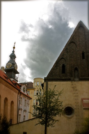 The Old-New Synagogue in Prague, with steps ascending to the attic where the Golem is said to lie waiting.