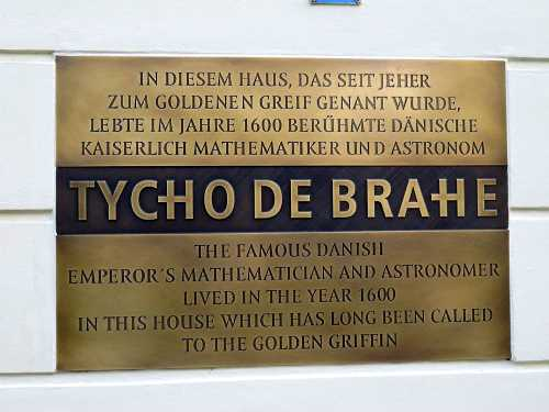 Plaque at Tycho Brahe's house in Prague